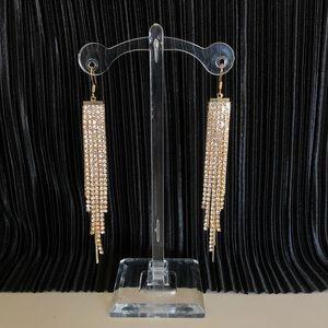Vintage Jewelry - Rhinestone waterfall drop earrings in gold